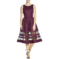 Alice + Olivia Womens Odelia  Lace Overlay Contrast Lace Panels Cocktail Dress