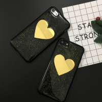 Fashion Golden lovely heart mirror flashy plastic Case Cover for Apple iPhone 5s 5 6 Plus 6 -05011