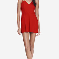 RED STRAPPY SWEETHEART ROMPER from EXPRESS