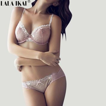 Sexy Lace Thin Soft Underwear Set Bra And Panties Embroidery Floral Pearl Lingerie Bra Set 3/4 Cup Three Hook-and-eye SWU0154-45