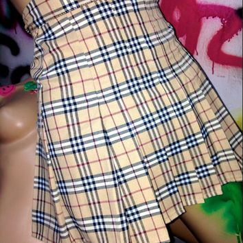 SWEET LORD O'MIGHTY! CHECKERED TENNIS SKIRT IN BROWN