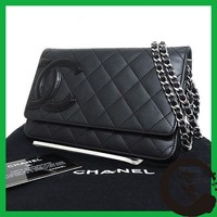 Auth CHANEL Cambon line Women leatherxenamel Shoulder Bag