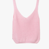 Pink Sleeveless Crop Knit Top