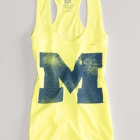AEO Women's Michigan Neon Vintage Tank (Neon Yellow)