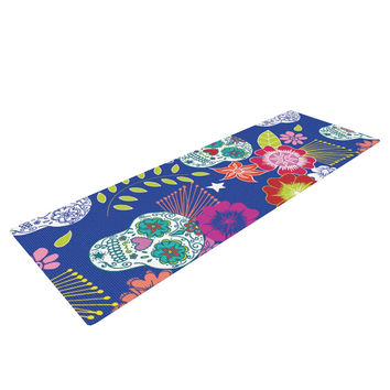 "Anneline Sophia ""Day of the Dead"" Blue Aztec Yoga Mat"