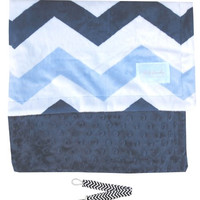 "Baby Laundry 92329 Soft Minky Navy Chevron Baby Blanket 36""x30"" with Pacifier Clip"