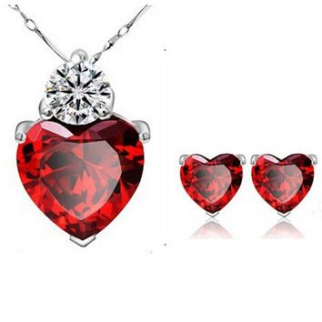 Crystal Romantic Sliver Plated Ruby Red Heart Pendant Necklace Earrings Set