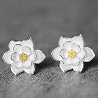 Delicate Lotus Earrings, Sterling Silver Lotus Stud Earrings, Flower earrings, Lotus Flower Studs Earrings, Flower Jewelry, gifts for her
