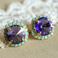 Crystal stud big Purple violet earring - 14k plated gold post earrings real swarovski rhinestones .