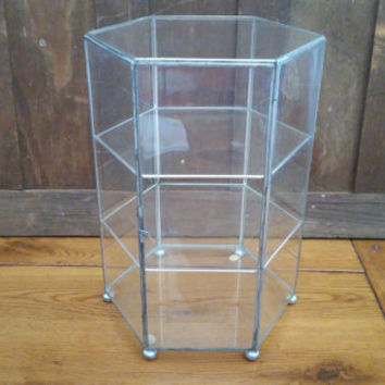 Vintage Large Silver Vitrine Glass Display Case Jewelry Box