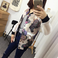 Long Sleeves Floral Printed Varsity Jacket