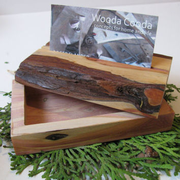 Wood business card holder/business card box. Made of live edge recycled juniper wood.