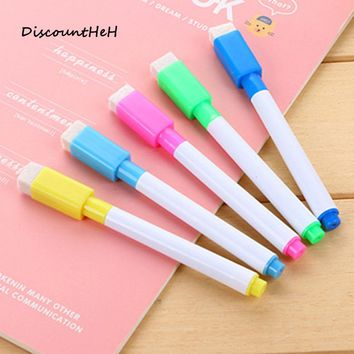 1PCS Repeated Filling Whiteboard Marker Pen  With Eraser And Magnetic Marker Highlighter Pen 8  Colors