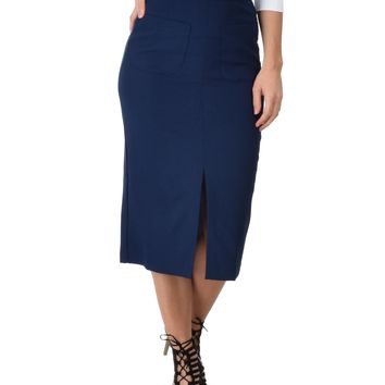 Lyss Loo High Waist Navy Pencil Skirt With Pockets
