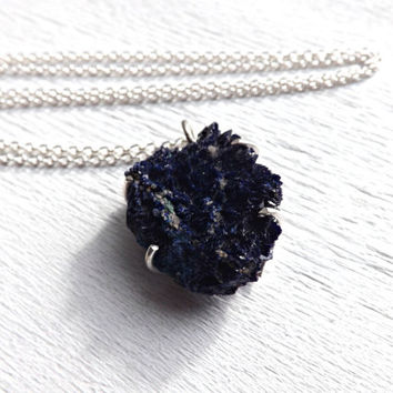 blue azurite crystal pendant, azurite druzy pendant, rough azurite necklace silver, raw azurite pendant, mens necklace, mens crystal pendant