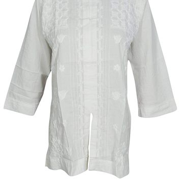 Mogul Interior Womens Indian Tunic Blouse Hand Floral Embroidered White Top Shirt Beach Cover up