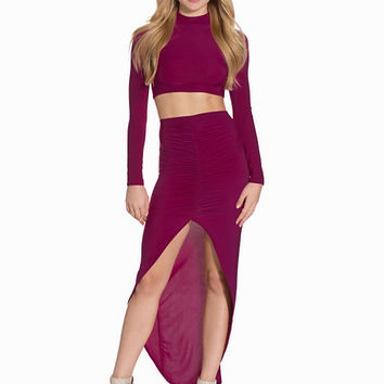 High Neck Top & Rouched Skirt Twin Set, Club L