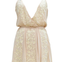 Cupshe Eyes on You Embroidered Plunging Slip Dress
