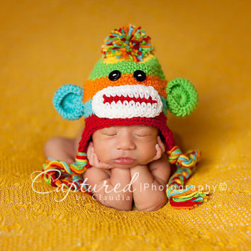Baby Boy Hat CUTE Newborn Baby Boy or Girl Colorful  Crochet knit Sock Monkey Hat With Ear Flaps FREE Shipping