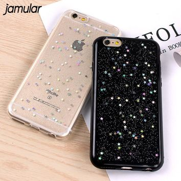 JAMULAR Soft Case For iPhone 7 8 Plus Bling Star Silicone Phone Cover Cases for iPhone 6 6s Plus Clear Cover for iPhone X Case
