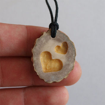 Hand carved - Heart necklace pendant charm jewelry handcrafted out of deer antler