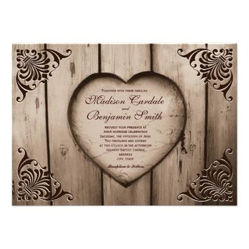 Rustic Country Heart Barn Wood Wedding Invitations