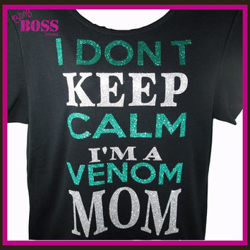 Keep Calm Custom Team Name Shirt Baseball Mom Ladies Bling Tee  Sport Sparkle Glitter Football Basketball Colors Wrestling Team Personalized