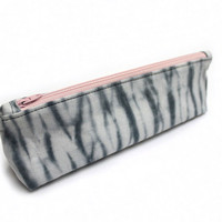 Gray Pencil Case, Hand Dyed Pencil Case, Shibori Pouch, Cotton Pencil Case, Gray Zipper Pouch, Shibori Cosmetic Bag, Shibori Pencil Case