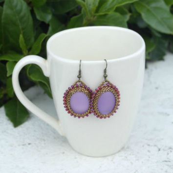 Purple Bronze Amethyst Earrings Dangle Oval Beadwork Oval Earrings Lavender