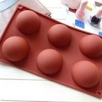 New 6 Holes Semicircle Silicone Cake Soap Molding Decorating Mold Jelly Pudding Chocolate Kitchen Cooking Tools (Color: Multicolor) = 5658086465