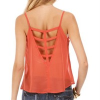 Peach/Rose Caged Back Sheer Top