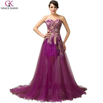 Grace Karin Peacock Evening Dresses Long 2017 Purple Feather Dress Formal Mermaid Evening Gowns Women Prom Party Dresses 6165