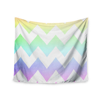"""Catherine McDonald """"Water Color"""" Chevron Wall Tapestry"""