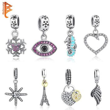 Fits Original Pandora Charms Bracelets 925 Sterling Silver Eiffel Tower,Clear CZ Snowf