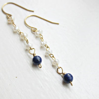 Freshwater Pearls and Lapis Lazuli Dangle Earrings, Pearl Earrings, Gift for Her, Handmade Earrings, Lapis Lazuli Earrings