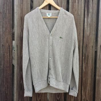 Vintage Izod Lacoste Cardigan Sweater - Tan - USA Made - SZ S / M