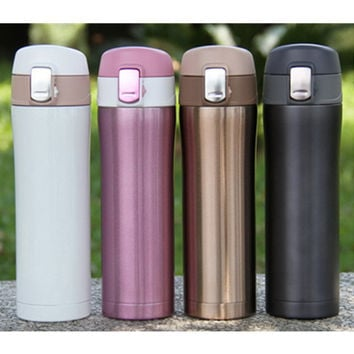 4 Colors Home Kitchen Vacuum Flasks Thermoses 420ml Stainless Steel Insulated Thermos Cup Coffee Mug Travel Drink Bottle