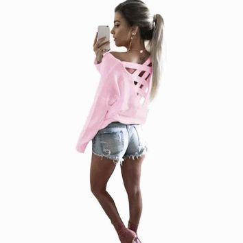 Womens T-Shirt Sexy Bandage Decoration Backless Long Sleeve Ladies Casual Party Tops 4 Colors Casual Female Shirt