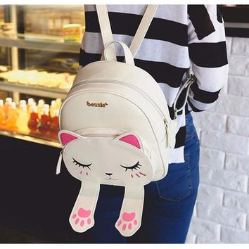 Cute Cat Backpack School Women Leather 6 Styles