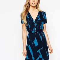 French Connection Short Sleeve Brushstroke Print Tea Dress at asos.com