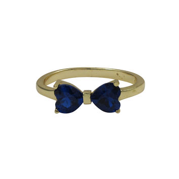 Blue Heart Shape CZ, Gold Plated Sterling Silver Bow Ring