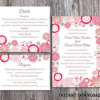 DIY Wedding Invitation Template Set Editable Word File Instant Download Pink Wedding Invitation Coral Floral Invitation Printable Invitation