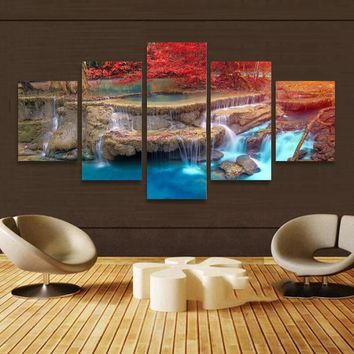 BANMU Landscape waterfall Canvas Painting Wall Art Home Decoration Art Maple Trees Modular Pictures Painting On The Wall