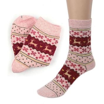 Cute Christmas Deer Design Casual Knit Wool Socks Warm Winter Mens Women