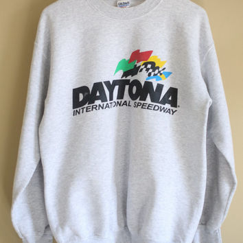 Daytona International Speedway Vintage Sweatshirt M Heather Gray 1990s Florida Daytona 500 Racing Track Nascar Beach Medium