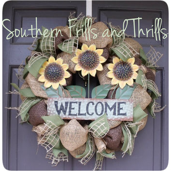 Burlap Sunflower Welcome Wreath