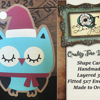 Owl Shaped Christmas Card | Handmade Shape Card | Blank Inside | Layered 3D | Made to Order | Aprox. 5 X 7 | Envelope Included