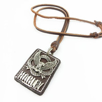 Black real Leather and alloy pendant adjustable necklace mens necklace  unisex necklace cool necklace B292
