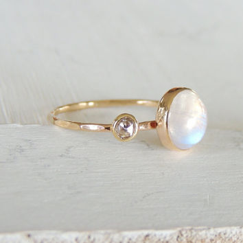 Diamond Ring, Rainbow Moonstone Ring, Engagement Ring, Diamond Moonstone Ring, Gift for her, Wedding Gift, Delicate Gold Ring, Stack Ring