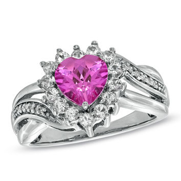 Heart-Shaped Lab-Created Pink and White Sapphire Ring in Sterling Silver with Diamond Accents - Size 7